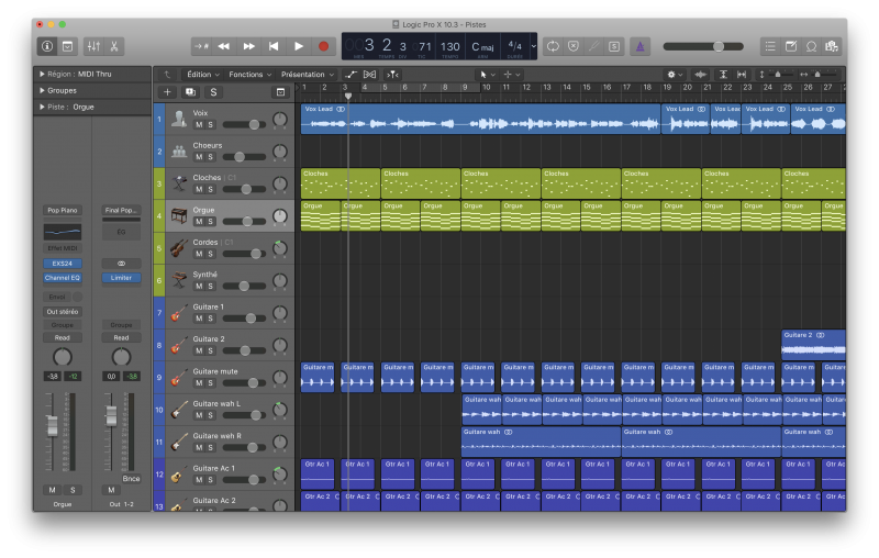 L'interface de Logic Pro X 10.3