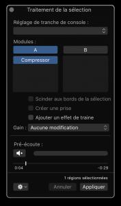 Traitement de la sélection sous Logic Pro X 10.3